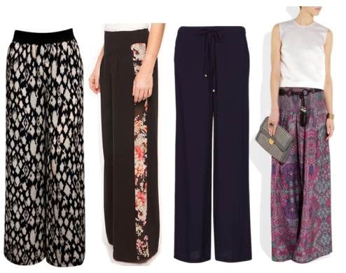 Palazzo Pants from Jane Norman, 1&20 Blackbirds, MANGO, and YSL