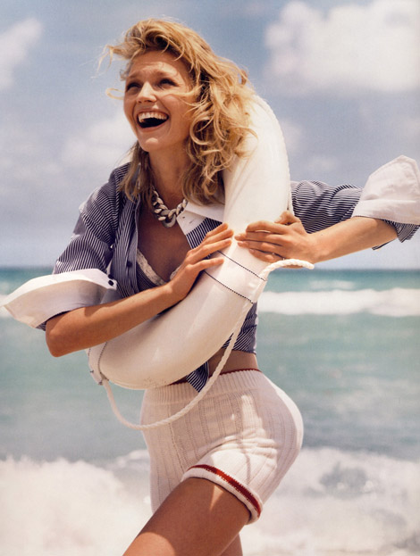 "Super-skinny Sasha Pivovarova models Bubbles Bodywear's ""exclusive panty designs"" in the June/July 2009 issue of Vogue Paris. Photo Credit"