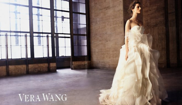 A selection from Wang's 2010 ad campaign featuring Anna de Rijk. Wang's designs are extremely popular with celebrity brides, including both Kim and Khloe Kardashian, Victoria Beckham, Chelsea Clinton, and Alicia Keys. Image courtesy of art8amby.