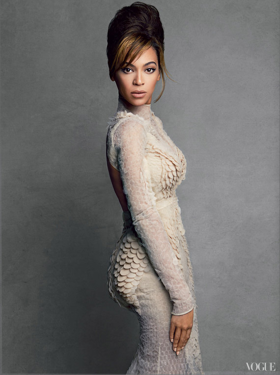 Bey sports the beehive in the March 2013 issue of Vogue. Foreshadowing?! Image via Beauty Is Diverse.