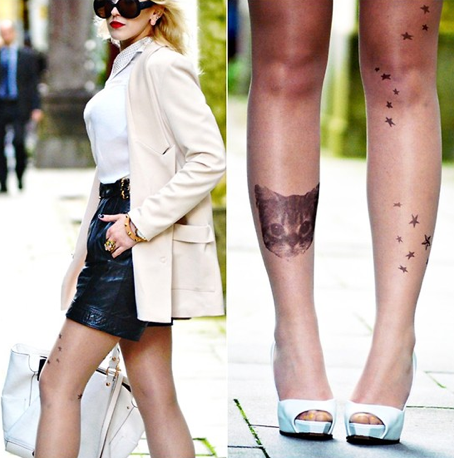 Fake cat tat! Love! Can you believe these are tights?! Image via Lookbook.