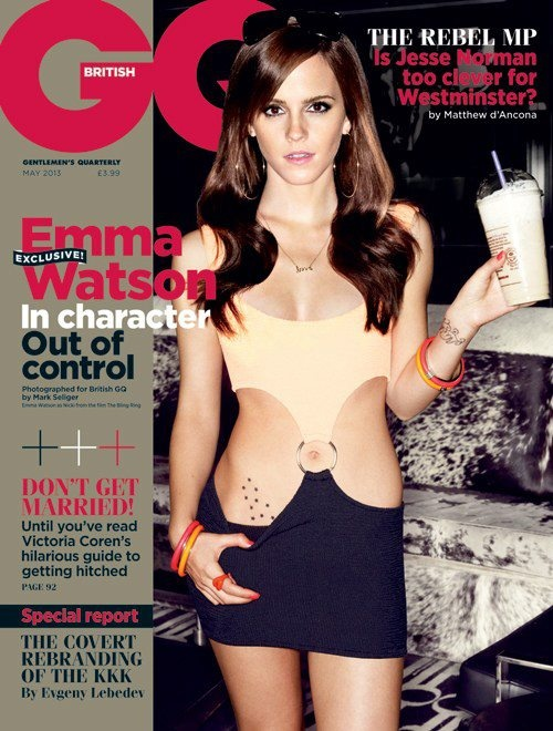 Emma Watson covers British GQ dressed as her Bling Ring character Nikki. Image Credit