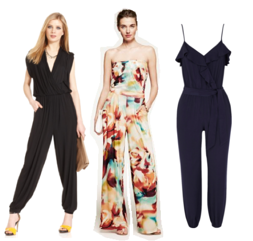 Cap-Sleeve Harem Jumspsuit, Bar III. Strapless Print Jumpsuit, Express. Ruffle Neck Peg Leg Jumpsuit, Warehouse. Fun fact: It was the center jumpsuit, which was featured on an episode of NBC's Fashion Star, that made me reconsider the jumpsuit trend! I kind of love it!