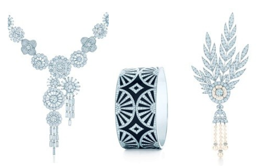 Selects from Tiffany's Gastby-inspired 2013 Blue Book: Diamond corsage necklace, fan bangle, and brooch.