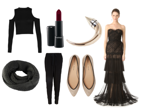 Cut-out crop top, Boo Hoo. Circle scarf, Othermix. Mac Mineralize lipstick in All Out Gorgeous, Nordstrom. Leith track pants, Nordstrom. Givenchy horn earring, LN-CC. Pointed flats, Dorothy Perkins. Marchesa illusion lace gown, Shopbop.