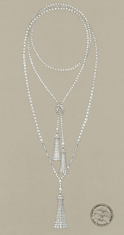 A sketch from The Great Gatsby collection...Tassel pendant of pearls accented in diamonds. Swoon! Image via Tiffany & Co.
