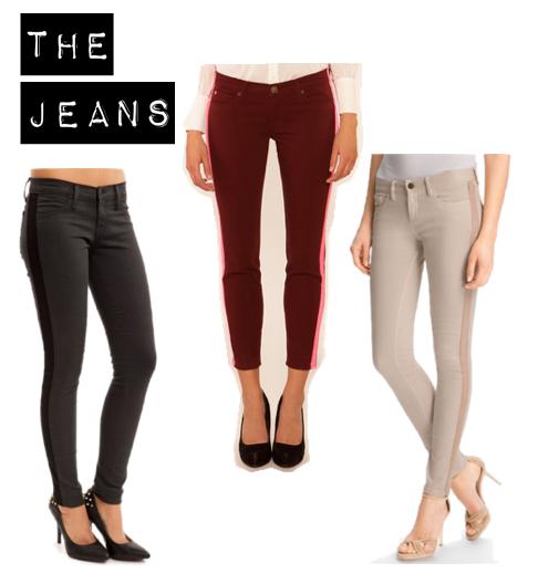Tuxedo stripe skinny jeans, Tobi.