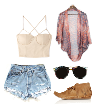 Crisscross Crop Top, Forever 21. High-waisted Denim Shorts, Etsy. The Cocoon Kimono, Jamie Fame. Floral Arrow Sunglasses, Sarah Aghili. Suede Fringe Boots, Topshop.