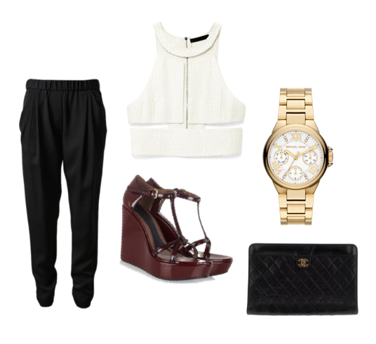 Relaxed Silk Trousers, 3.1 Phillip Lim. Reptile Silk Illusion Crop Top, Alexander Wang. Patent Wedge Sandals, Marni. Camille Chronograph Watch, Michael Kors. Vintage Quilted Clutch, Chanel.
