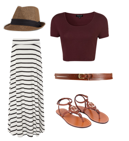 Fedora, Forever 21. Stripe Maxi Skirt, Matalan. Crop Top, Topshop. Ultra Skinny Triple Strand Belt, Rag & Bone. Leather Gladiator Sandals, Gucci.