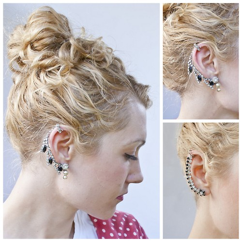 This rhinestone ear piece is actually made from recycled vintage jewelry! Get the DIY tutorial at Transient Expression.