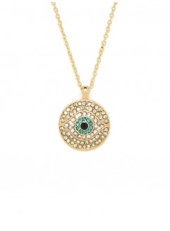This evil eye disk pendant from Bauble Bar would be beautiful alone or worn as a layering element. The contrast between the yellow gold chain and back, white crystals, and turquoise iris is stunning. Buy it at Bauble Bar.