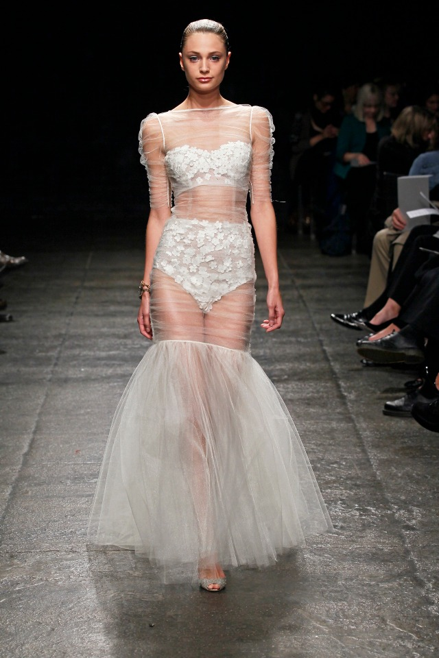 What's this?! A high-fashion way to wear high-waist lingerie?! This runway stunner is actually a Hayley Paige BRIDAL GOWN from her Spring 2013 collection. Image via Project Wedding.