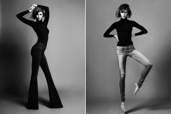 Jeans for the freakishly tall: Karlie Kloss models her Forever Karlie Flares and Forever Karlie Skinnies. Image via FRAME Denim.