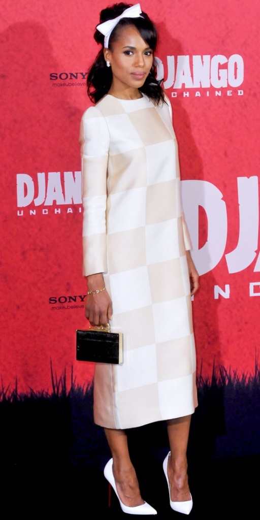 So beyond obsessed with Kerry at the Berlin premier of Django! Vuitton dress, Loubs, and that clutch...Impossibly chic. Image Credit