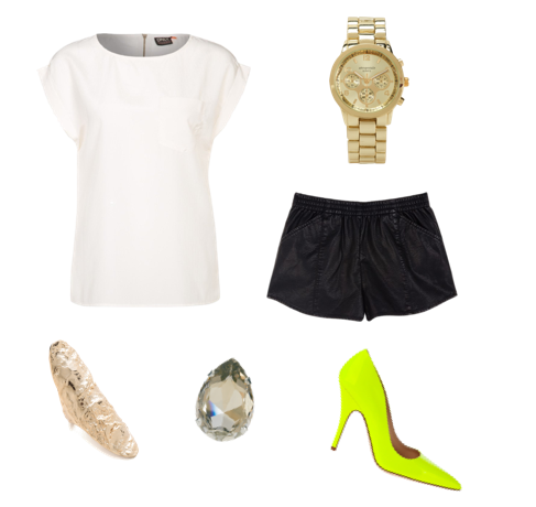 This stylish look couldn't be easier to replicate...All you need is the right elements! Top, Only. Shorts, Zara. Watch, Nordstrom. Pumps, Nordstrom. Crystal ring, ASOS. Long ring, Shopbop.