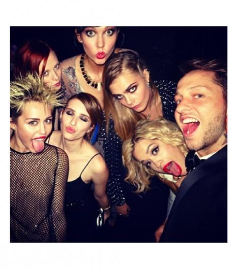 Punks, apparently! Miley, Emma, Karen, Karlie, Cara, Rita, & Derek.