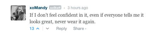 One of my fav fashion commandments thus far in the open thread, via xoJane.