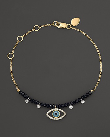 If you're feeling splurge-y, you can't go wrong with this Meira T evil eye bracelet complete with diamonds and turquoise accents. Buy at Bloomingdales.