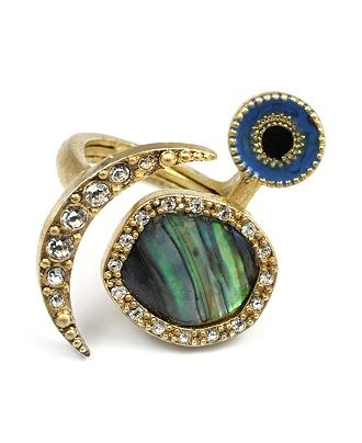 Another take on the evil eye trend comes in the form of this abalone statement ring by Rachel Roy. Aside from the texture and colors in this ring, the styling of this interpretation is a bit different than other offerings, which I like. Buy at Macy's.