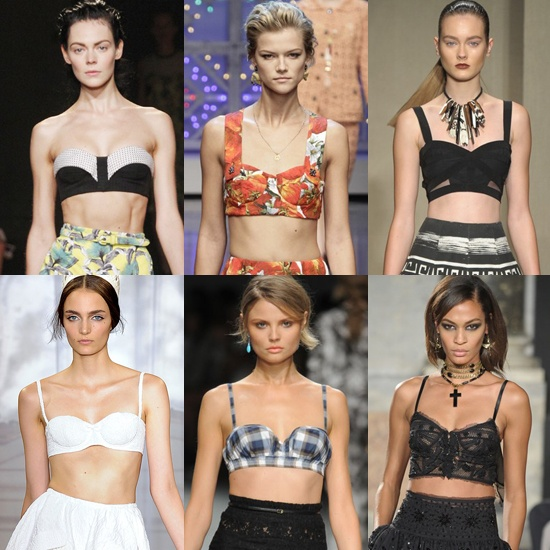 Bra tops made runway rounds in Spring 2012 shows. From left to right: Proenza Schouler, Dolce & Gabanna, Donna Karan, Nina Ricci, No21, and Emilio Pucci. Image via Pinterest.