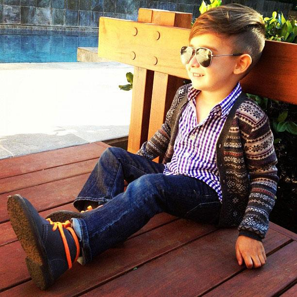 Crew Cuts & Joe's Jeans: Just your normal 5-year-old kiddo. Image via Alonso Mateo.