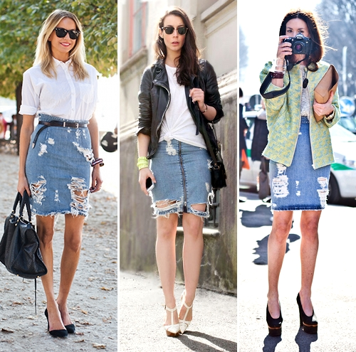 "Is the midi skirt a fashion ""do"" in denim? Image via Pinterest."