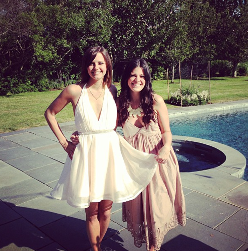 Brides-to-be Kim and Lexi pose for a photo before their rehearsal dinner. Image courtesy of Kim Stolz.