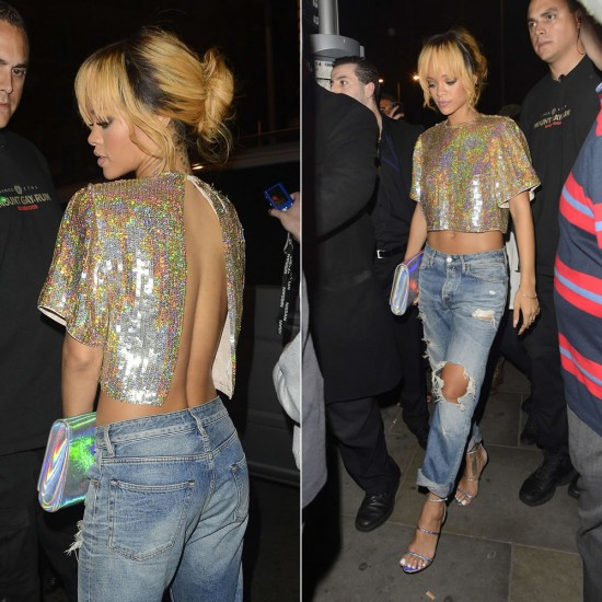 Holographic nights in London: Rihanna rocked a Stella McCartney top and clutch, Acne jeans, and Manolo Blahnik shoes on a night out last week...But you can get her look for way less! All of our picks are under $100 each. Image courtesy of Haus of Rihanna.