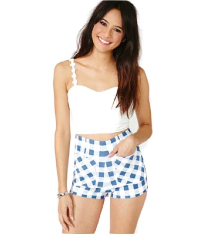 Ozzie Gingham Zip Shorts. Buy @Nasty Gal.