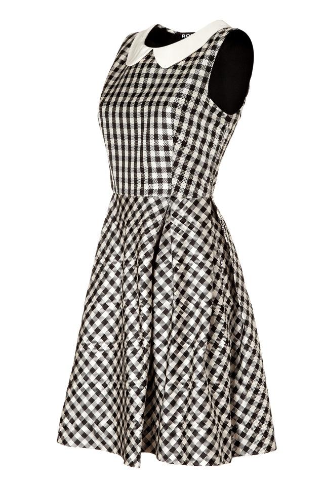 ROCHAS Pearl/Black Gingham Silk Satin Dress. Buy @Style Bop.