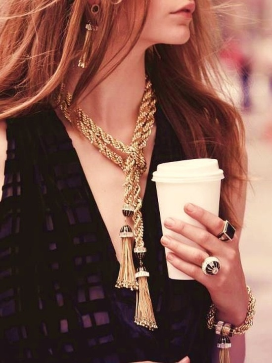Braiding, pave additions, and multiple tassels provide a more glamourous take on this trend. Image via Pinterest.