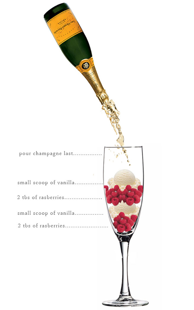 Champagne, raspberries, & a little vanilla ice cream: This is the DREAM. Image via Pinterest.