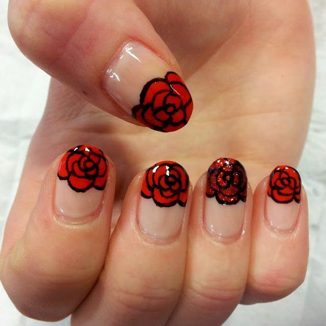 Nailed It: Rose Nails by Dani and Jo of Dalia Nails! Image via Pinterest.