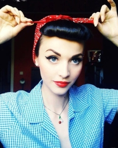 Add to your pinup inspired costume with bright red lips, mascara, and thick liner.